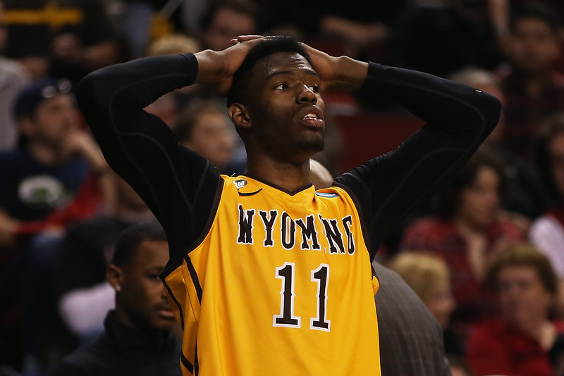. Derek Cooke Jr. #11 of the Wyoming Cowboys reacts on the sidelines during the second round of the 2015 Men\'s NCAA Basketball Tournament at KeyArena on March 20, 2015 in Seattle, Washington.  (Photo by Otto Greule Jr/Getty Images)