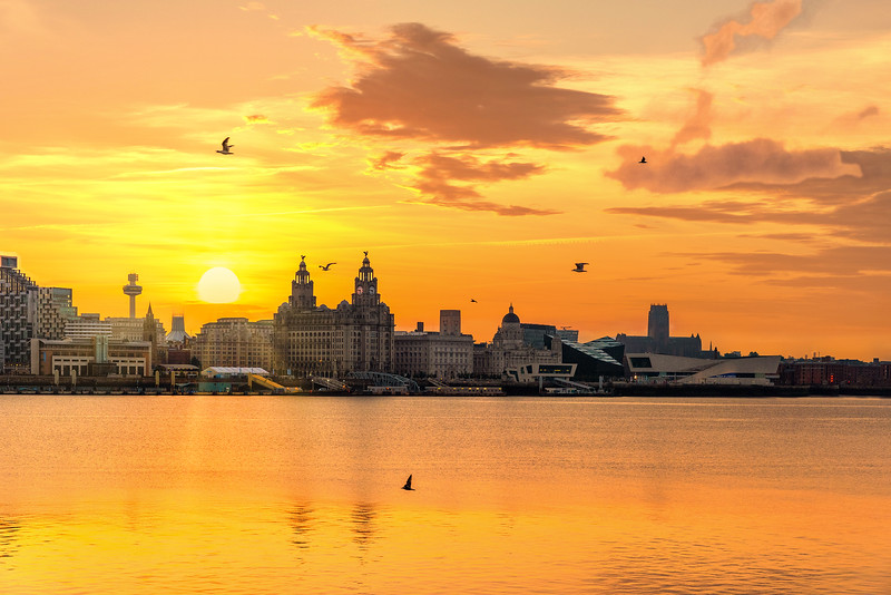 Sunrise over Liverpool Waterfront and the River Mersey