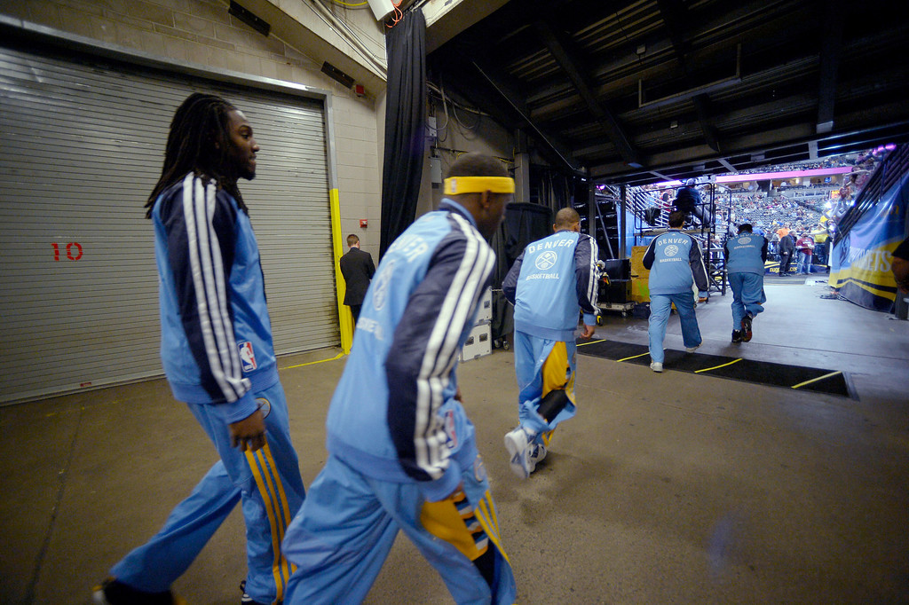 . Denver Nuggets head out to the court for their game against the Chicago Bulls November 21, 2013 at Pepsi Center. (Photo by John Leyba/The Denver Post)