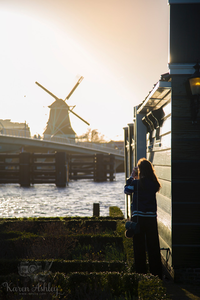girl Zaanse Schans windmills netherlands