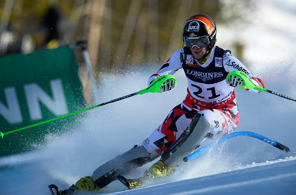 . BEAVER CREEK, CO - FEBRUARY 9: Nicole Hosp, of Austria, competes in the Women\'s slalom portion of the women\'s alpine combined race at the FIS Alpine World Ski Championships in Beaver Creek, CO. February 9, 2015. Hosp took home the silver.(Photo By Helen H. Richardson/The Denver Post)