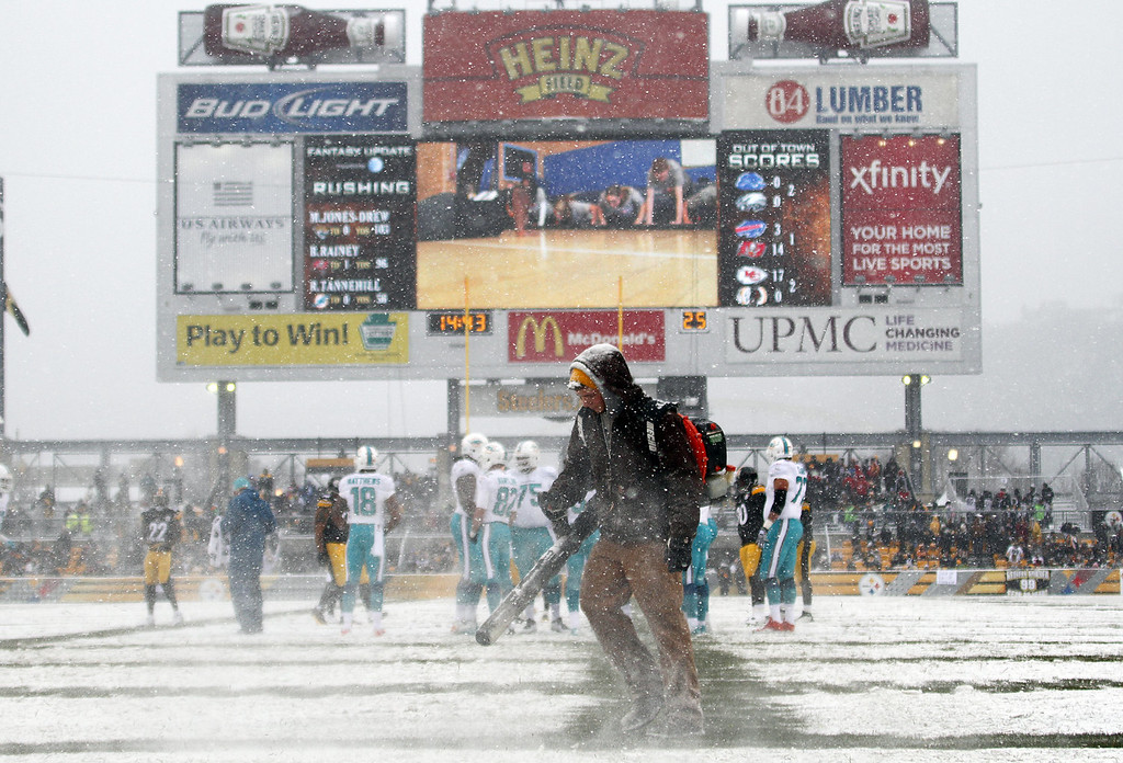 . A Heinz Field grounds crew blows snow off the hash marks during the game between the Pittsburgh Steelers and the Miami Dolphins on December 8, 2013 at Heinz Field in Pittsburgh, Pennsylvania. (Photo by Justin K. Aller/Getty Images)