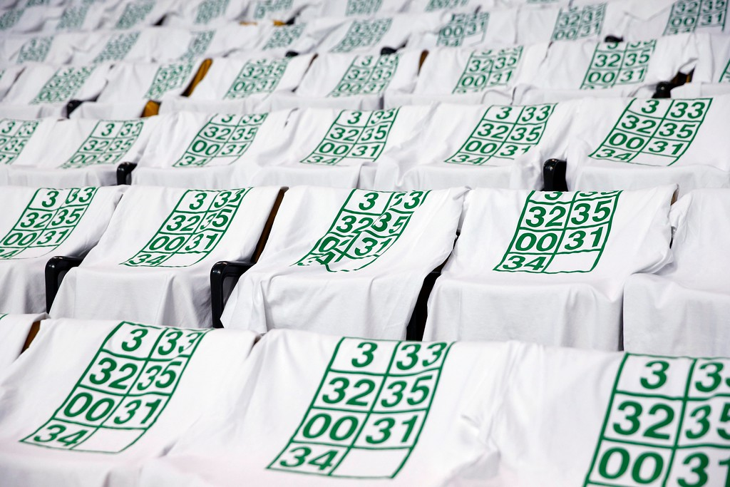 . T-shirts with retired Boston Celtics jersey numbers drape the seats before an NBA basketball game against the Cleveland Cavaliers in Boston, Sunday, Feb. 11, 2018. (AP Photo/Michael Dwyer)