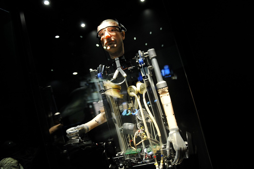 . A first-ever walking, talking bionic man stands on display at the Smithsonian National Air and Space Museum in Washington, on Friday, Oct. 18, 2013.  (Olivier Douliery/Abaca Press/MCT)