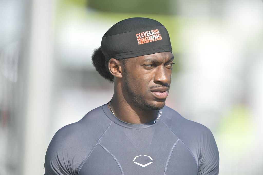 . Cleveland Browns quarterback Robert Griffin III reacts after practice at the NFL football team\'s training camp Monday, Aug. 1, 2016, in Berea, Ohio. (AP Photo/David Richard)