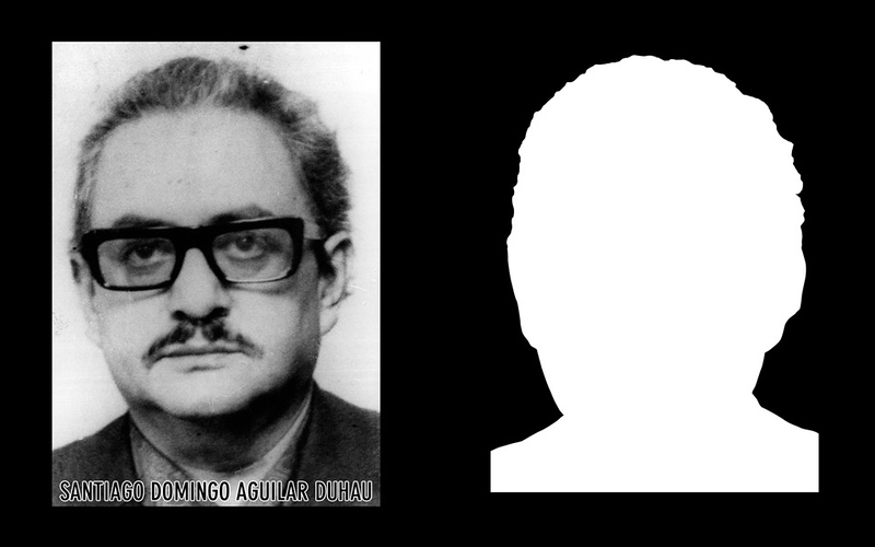 Photograph and silhouette of Santiago Domingo Aguilar Duhau Santiago Domingo Aguilar Duhau, the Governor of La Unión until September 11, 1973, was detained and disappeared on September 17, 1973 by the Carabineros (National Police Force) of Osorno's Third Commissary, after voluntarily presenting himself at the Osorno Police Station to request an official form (Salvo de Conducto) permitting him to move out of his residence.  *Shown here is the detail of the original photograph juxtaposed against its silhouette. (Courtesy Alfredo Jaar Studio) More information about Santiago Domingo Aguilar Duhau can be found inside the archives of the Museo de Memoria y Derechos Humanos (Museum of Memory and Human Rights).  The information presented here and more can be found online: http://www.memoriaviva.com/desaparecidos/da/AGUILAR_DUHAU_SANTIAGO_DOMINGO.htm