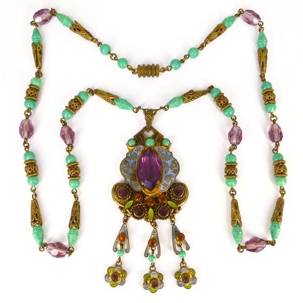 Antique Art Deco Czech Neiger Brothers Oriental Enamel Purple & Green Bead Necklace