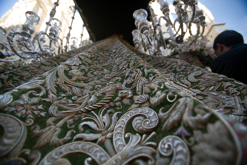 """The """"coronation cloak"""" of the Macarena Virgin, a superb embroidering work with gold thread, Seville, Spain, Holy Week 2008"""