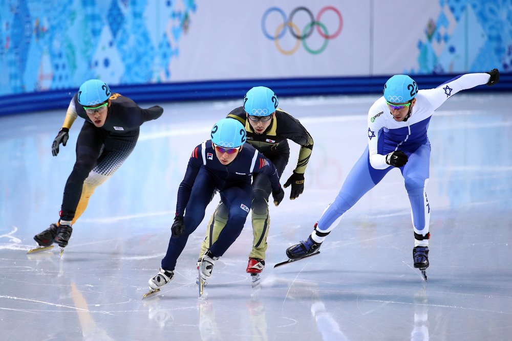 . (L to R) Pierre Boda of Australia, Se Yeong Park of Korea,  Satoshi Sakashita of Japan, Vladislav Bykanov of Israel compete in the Short Track Men\'s 500m Heat at Iceberg Skating Palace on day 11 of the 2014 Sochi Winter Olympics on February 18, 2014 in Sochi, Russia.  (Photo by Streeter Lecka/Getty Images)