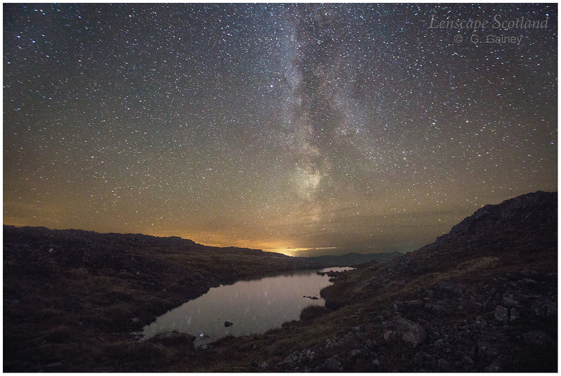 Milky Way over small lochan on Sgorr nam Fiannaidh, Glen Coe