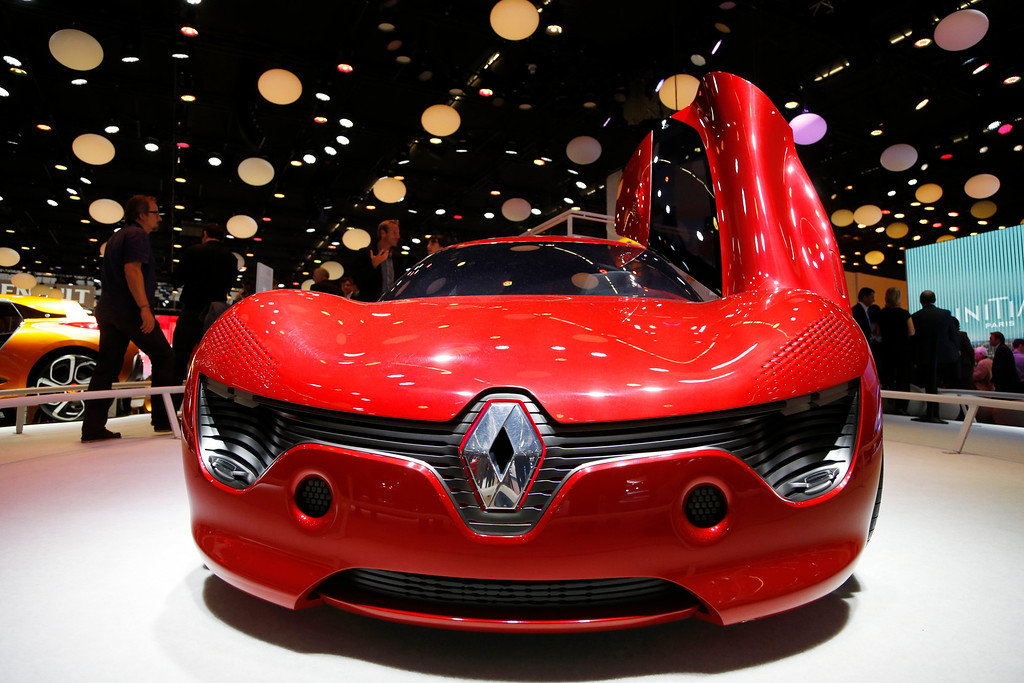 . A Renault Dezir concept car is displayed  during the first press day of the 65th Frankfurt Auto Show in Frankfurt, Germany, Tuesday, Sept. 10, 2013. More than 1,000 exhibitors will show their products to the public from Sept. 12 through Sept.22, 2013. (AP Photo/Frank Augstein)