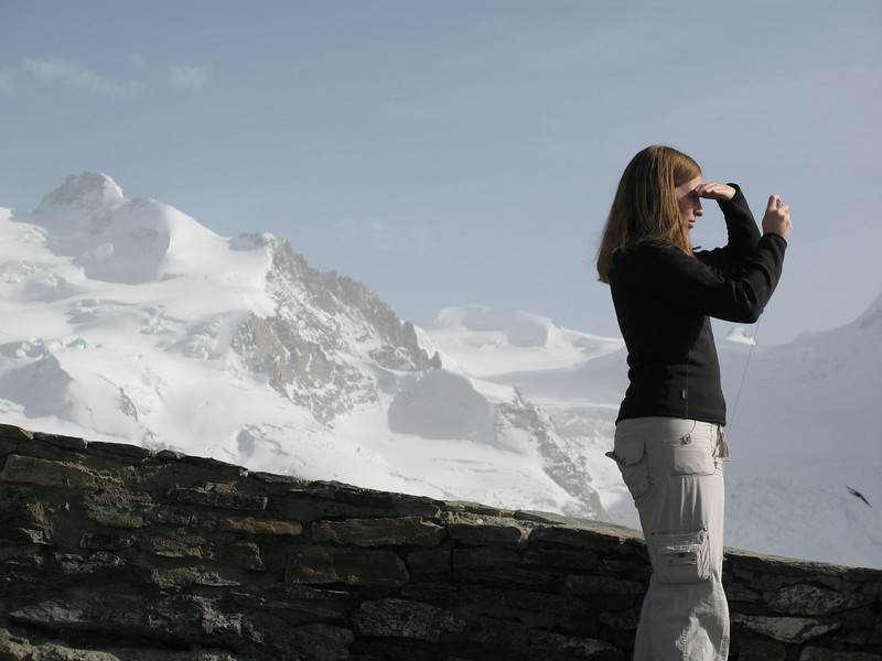 Becky taking a picture of the glaciers