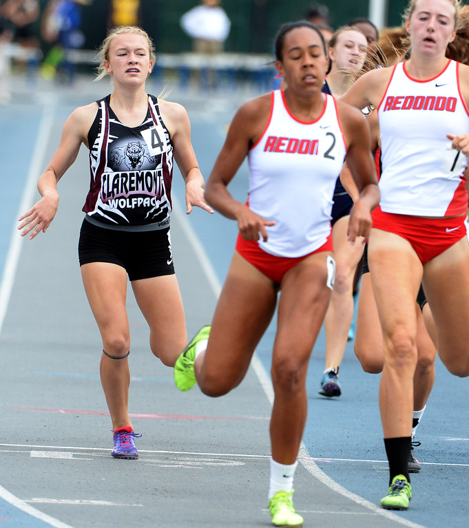 . Claremont\'s Annie Boos competes in the division 2 800 meters race during the CIF Southern Section track and final Championships at Cerritos College in Norwalk, Calif., Saturday, May 24, 2014.   (Keith Birmingham/Pasadena Star-News)
