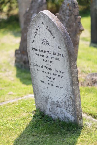 Gravestone for John Belton. Photo by Mark Heath (July 2012). John Belton died in October 1919 (aged 72). His wife Fanny died soon afterwards, in December 1921 (aged 61).