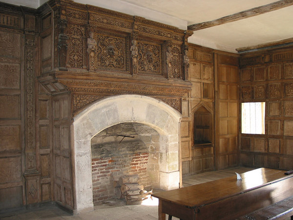 Inside Stokesay Castle. Note the inticately carved original oak panelling around the fireplace....very beautiful and surprisingly well preserved as I think it dates from the 17th century.