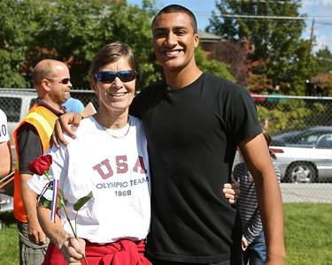 Ashton Eaton Miki McFadden Honored Olympians with Tate Metcalf 9-23-12
