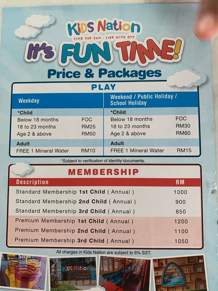 Pricing of Kids Nation at Mont Kiara