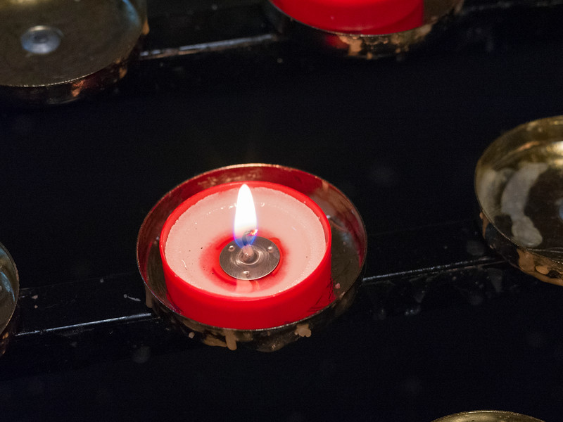 Close-up of candle burning in Cathedral of the Immaculate Conception, Sligo, County Sligo, Republic of Ireland