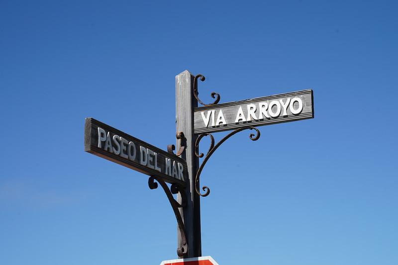 A rustic street sign in Palos Verdes Estates.