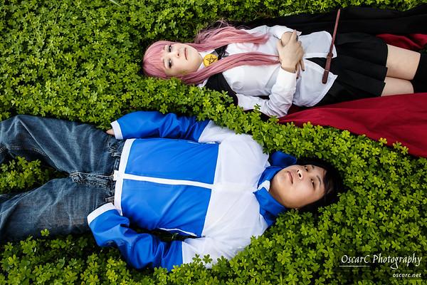 Louise (Sara Sekhmett) and Saito (Kazuma) from Familiar of Zero