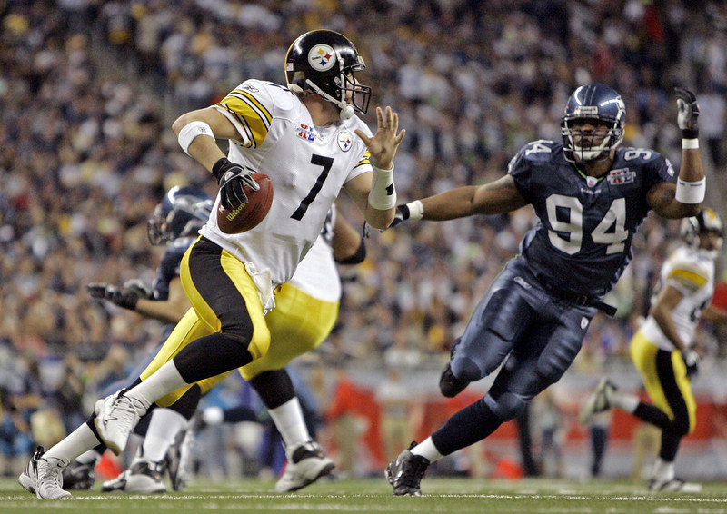 . Ben Roethlisberger, Miami (Ohio) Selected 11th overall by the Steelers in 2004 Roethlisberger has started at least 12 games in each of his nine seasons with the Steelers. Pittsburgh has made the playoffs in seven of those nine seasons, and has won two Super Bowls, in 2005 and �08. Roethlisberger hasn�t thrown more than 15 interceptions since the 2006 season, when he threw a league-high 23. Pittsburgh is 87-39 in the regular season when Big Ben starts, and 10-4 in the postseason. GRADE: A. Has been borderline perfect, aside from the off-field controversies. (AP Photo/Michael Conroy)
