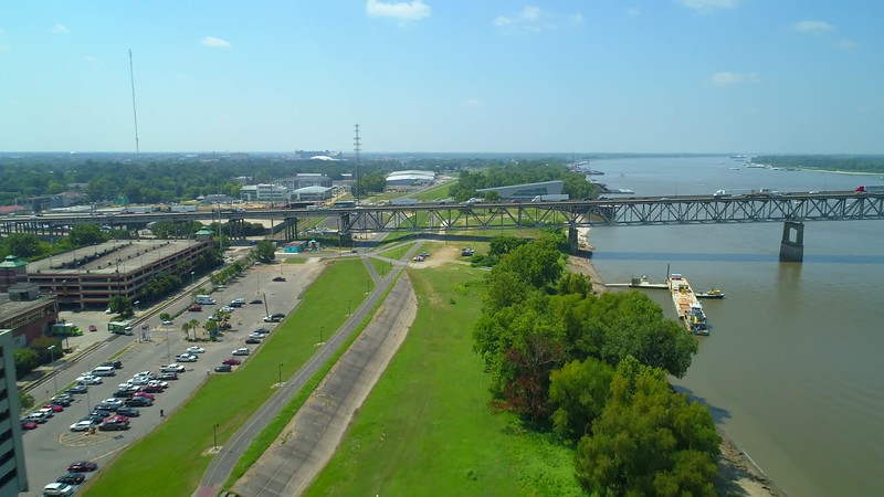 Aerial video Highway I10 over The Missisippi River Baton Rouge Louisiana