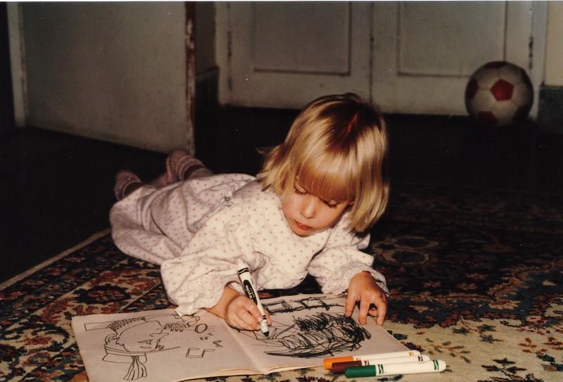 Girl coloring, Rawalpindi, Pakistan, circa 1990.jpg