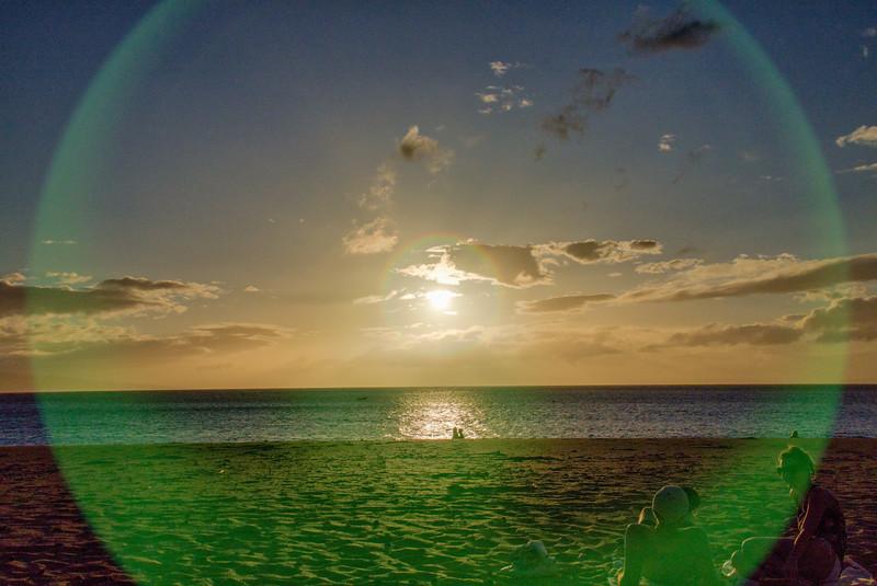 Green Ring around the setting sun
