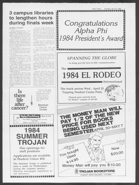 Daily Trojan, Vol. 95, No. 68, April 24, 1984