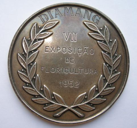Medalha -Verso -1952 2* Prémio - Plantas de Estufa