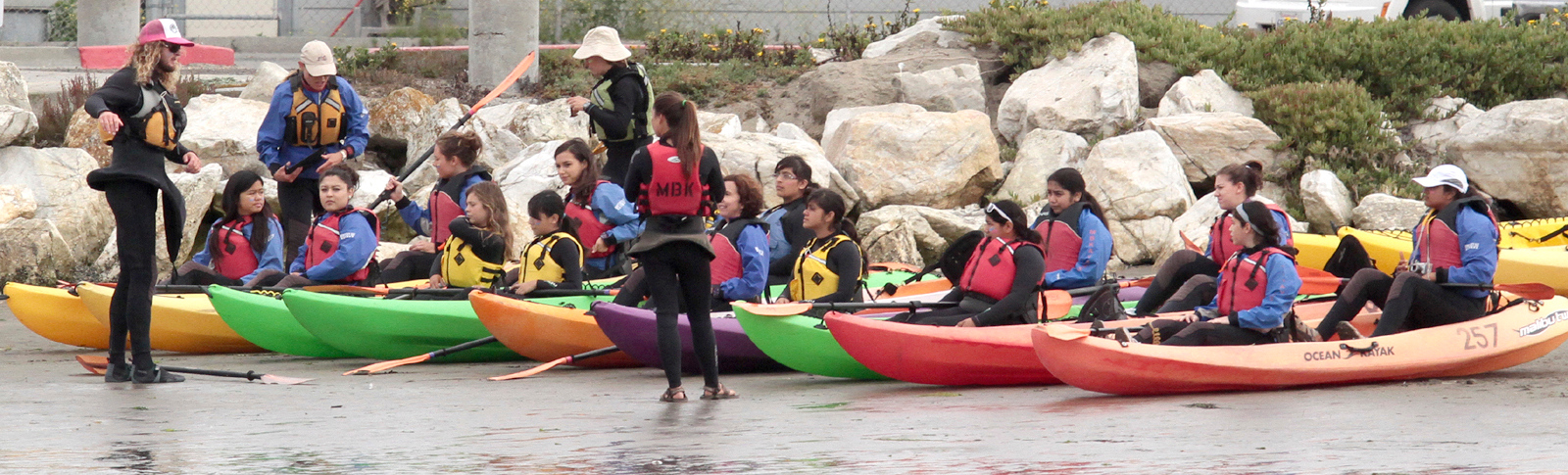 . Ready to go.  Young Women in Science Kayak in Elkhorn Slough (Shmuel Thaler/Sentinel)