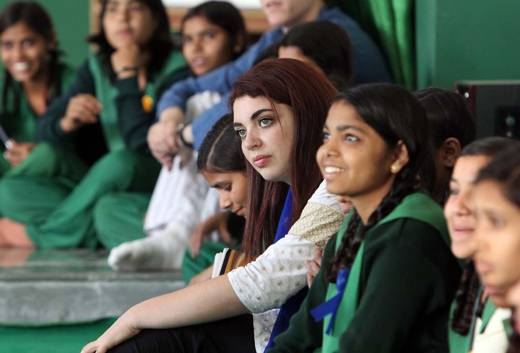 . Karina Fox and her Mount Madonna School classmates visit Pardada Pardadi School in Anupshahr, India on March 25-26.