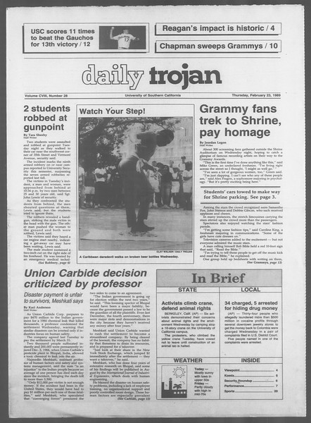 Daily Trojan, Vol. 108, No. 28, February 23, 1989