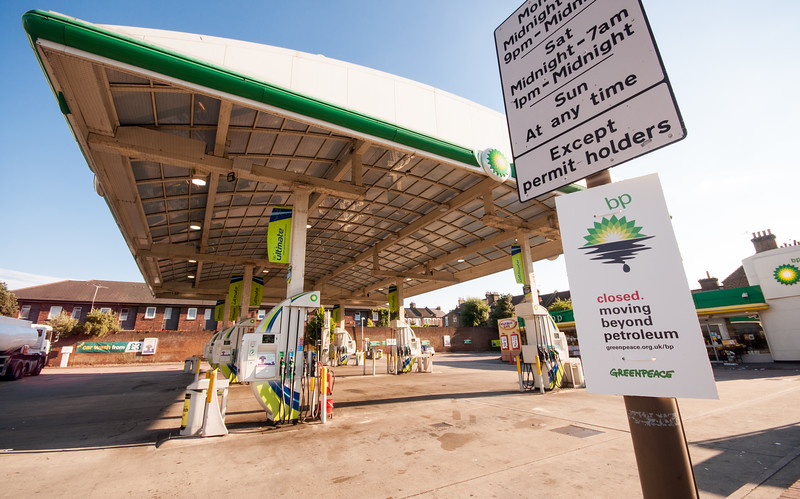 BP garage closed by Greenpeace