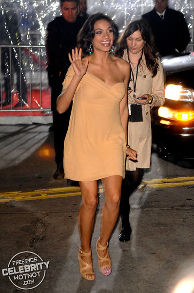 Rosario Dawson Waves At Fans Wearing Revealing Dress in LA