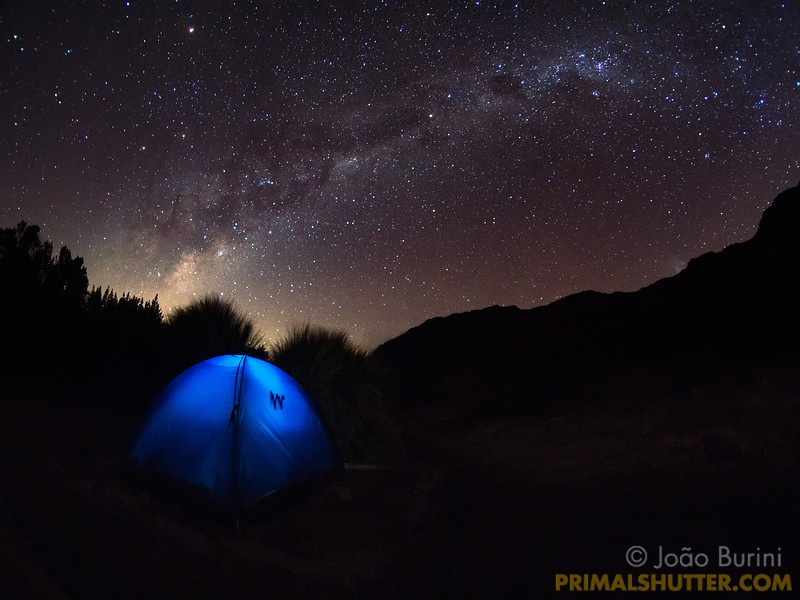 Campsite beneath the milky way