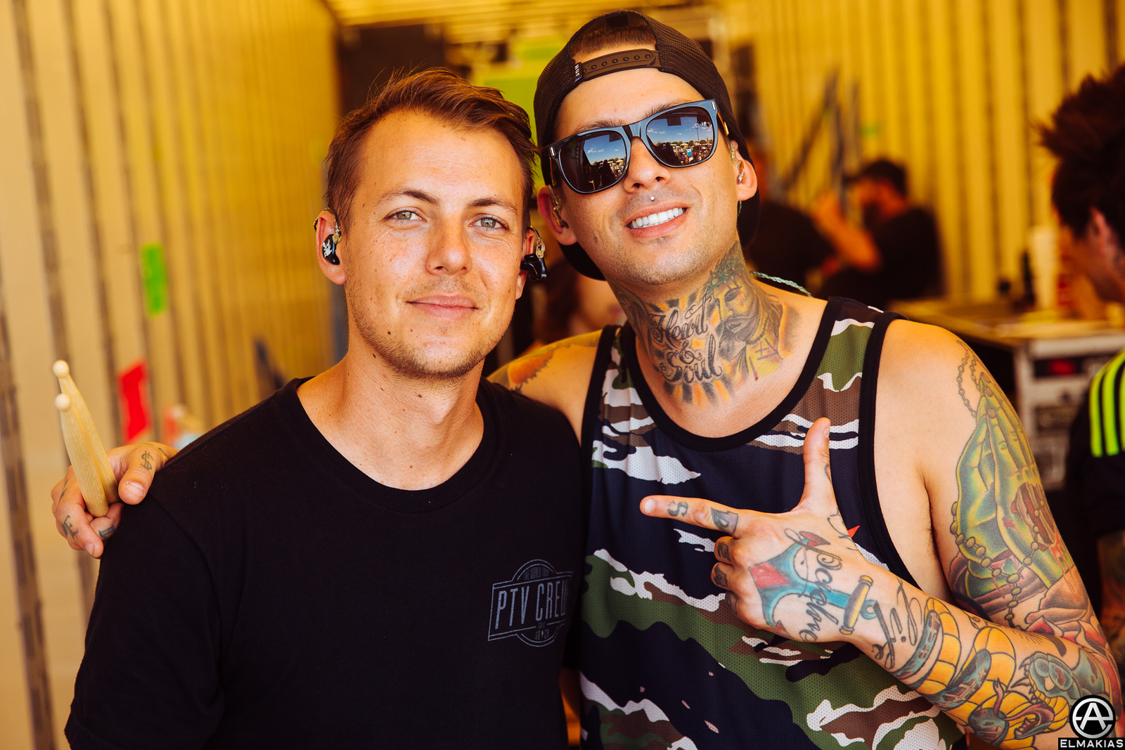 Casey and Mike Fuentes of Pierce the Veil at Warped Tour 2015 by Adam Elmakias