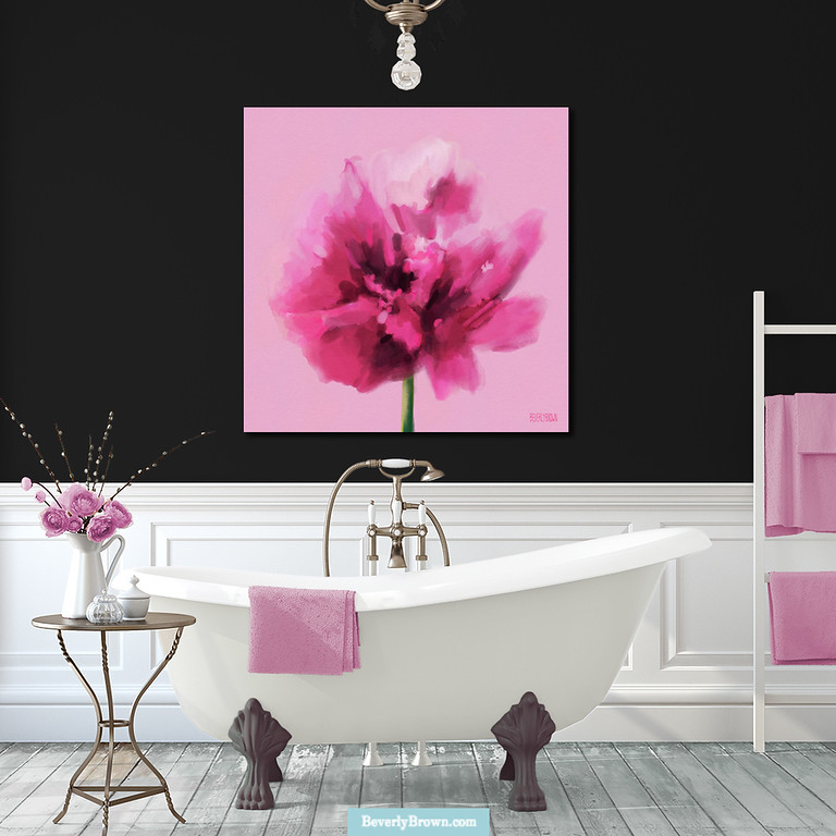 Hot pink bathroom wall art on black walls. Wall art print by Beverly Brown - beverlybrown.com