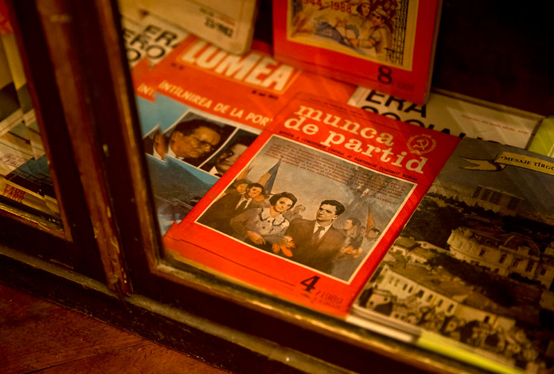 . A picture taken on Dec. 15, 2014 shows books and magazines, either about or allegedly authored by communist dictator Nicolae Ceausescu, at the military garrison, turned museum, in Targoviste, Romania, where he and his wife Elena spent their final days before being executed on Dec. 25, 1989.  (AP Photo/Vadim Ghirda)