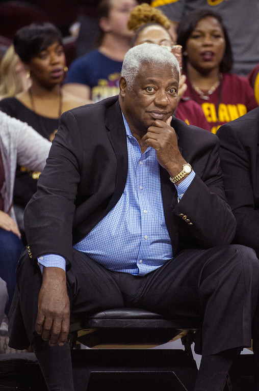 . NBA Hall of Fame member Oscar Robertson watches the Cleveland Cavaliers play the Toronto Raptors during the second half of an NBA basketball game in Cleveland, Tuesday, Nov. 15, 2016. The Cavaliers won 121-117. (AP Photo/Phil Long)