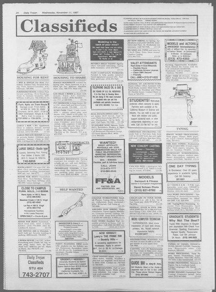 Daily Trojan, Vol. 105, No. 49, November 11, 1987