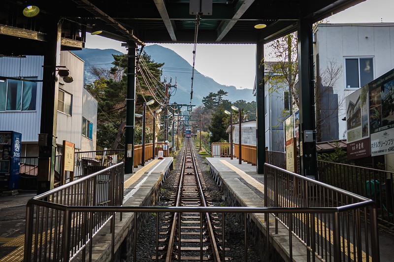 Cable Car leaving the Station in Hanoke Japan