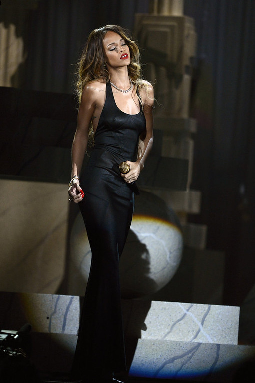 . Singer Rihanna performs onstage at the 55th Annual GRAMMY Awards at Staples Center on February 10, 2013 in Los Angeles, California.  (Photo by Kevork Djansezian/Getty Images)