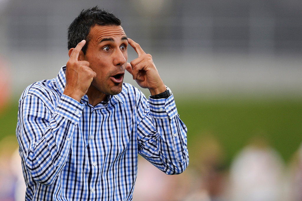 . Colorado Rapids head coach Pablo Mastroeni yells out instructions to his team during the first half against the Houston Dynamo June 1, 2014 at Dick\'s Sporting Goods Park. (Photo by John Leyba/The Denver Post)