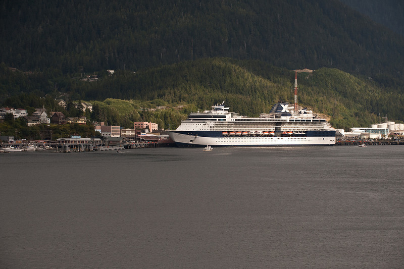 Departing Ketchikan (about 3 pm.) Infinity is still at dock.