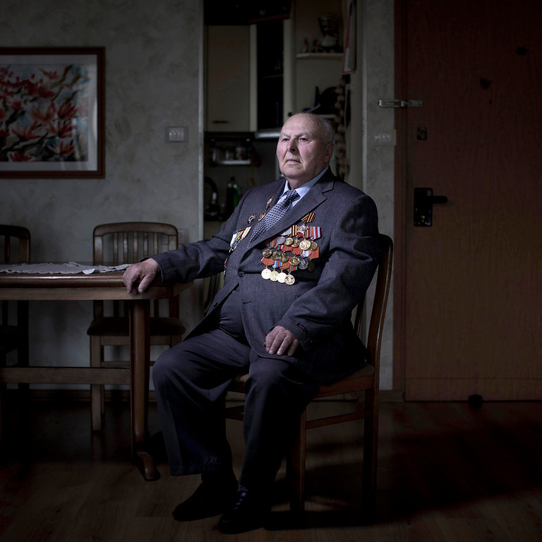 . Soviet Jewish World War Two veteran Gregory Stinman, 87, poses for a portrait at his house in the southern Israeli city of Ashdod. Stinman joined the Red Army in 1943 and served in the First Belorussian Front, a Soviet formation equivalent to an Army group, until he was wounded on January 23, 1945. Stinman demobilized in 1950 and immigrated to Israel in 1991 from Belorussia. About 500,000 Soviet Jews served in the Red Army during World War Two, and the majority of those still alive today live in Israel.   (AP Photo/Oded Balilty)