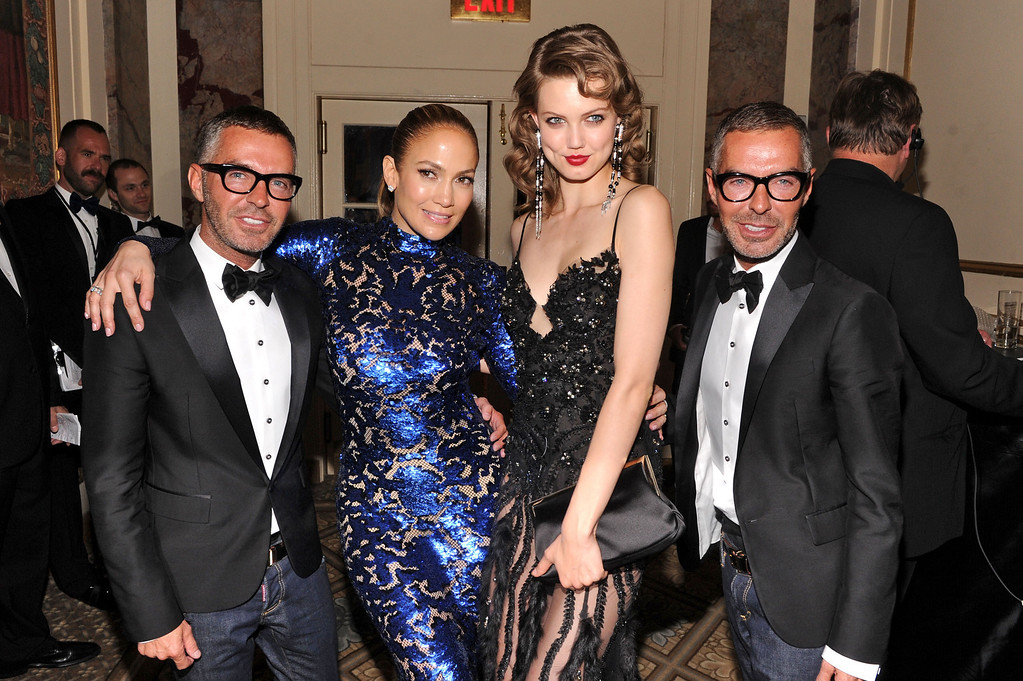 . NEW YORK, NY - JUNE 13:  Dean Caten and Dan Caten of Dsquared2 pose with Jennifer Lopez and Lindsey Wixson at the 4th Annual amfAR Inspiration Gala New York at The Plaza Hotel on June 13, 2013 in New York City.  (Photo by Jamie McCarthy/Getty Images)