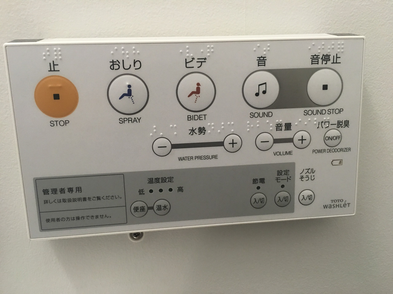 Control Panel for the Toilet
