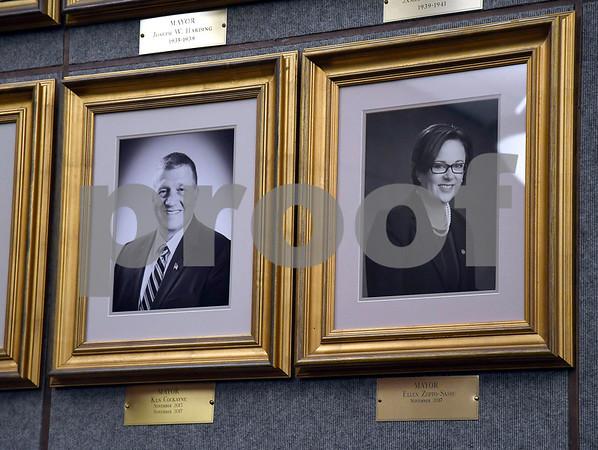 1/9/2018 Mike Orazzi | Staff Bristol Mayor Ellen Zoppo-Sassu's official portrait was unveiled Tuesday night at city hall.