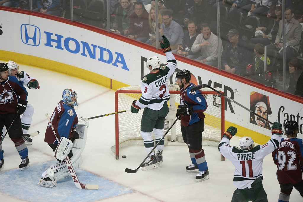 . Charlie Coyle (3) of the Minnesota Wild scored a goal during the first period of action. The Colorado Avalanche hosted the Minnesota Wild in the first round of the Stanley Cup Playoffs at the Pepsi Center in Denver, Colorado on Saturday, April 19, 2014. (Photo by Karl Gehring/The Denver Post)